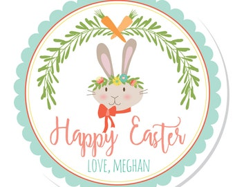 Personalized Stickers -- Whimsy Bunny -- Personalized Labels, Personalized Easter Stickers, Personalized Book Label -- Choice of Size