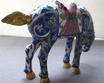 Cloisonne Horse - Noble Steed -  Lapis Blue Enameling with Floral Designs - Gilded Grazing Chinese  Stallion Saddled Horse Figurine