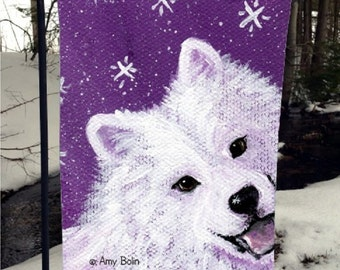 """Samoyed """"Wish Upon A Snowflake"""" 12"""" by 18"""" GARDEN FLAG by Amy Bolin"""