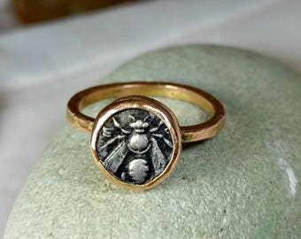 Rose Gold Coin Ring, Statement Ring, Ancient Coin Jewelry, solid 14 kt  rose gold  ring, Ephesus Bee coin ring