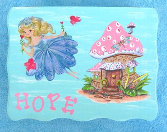 FAIRY PRINCESS Personalized Wood Keepsake Trinket Box - Original Hand Painted/Vintage Print - New Baby Girl Gift - Large Size