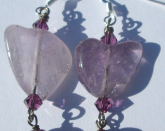 amethyst and crystal dangle hand made pierced wire wrapped earrings