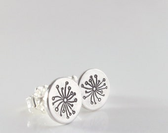 Dandelion stud earrings, Sterling silver, Make a Wish jewelry, Nature inspired