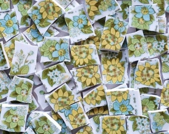 Mosaic Tiles--Sunflowers and Flowers-Blue-80 Tiles