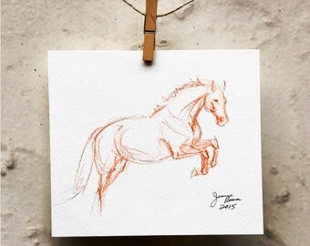 "Original Horse Art Sketch Drawing - ""Orange and Teal Jumper"""