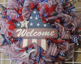 Rustic Americana Wreath, Star Wreath, Patriotic Front Door Wreath, Independence Day, 4th of July, Summer Wreath, Mesh Wreath