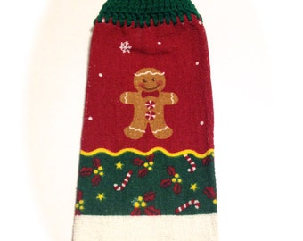 Gingerbread Cookie Christmas Hand Towel With Paddy Green Crocheted Top