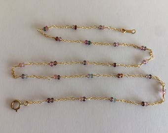 Multicolor spinel tiny beaded necklace