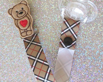 Heart Teddy Bear Pacifier Clip Paci Soother Mam Nook Binky Holder trendy new baby shower gift argyle plaid YOU CHOOSE Loop Snap boy girl