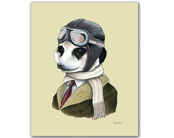 Meerkat art print by Ryan Berkley 8x10