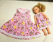 Child Strawberry Shortcake Dress Size 1,2,3 4,5 with Matching Doll Dress