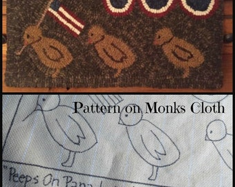 Hooked Rug Pattern on Monks Cloth Peeps on Parade