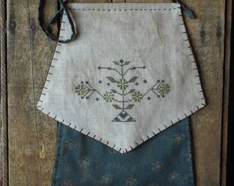Floral Cross Stitch Seed Bag Mailed Paper Pattern