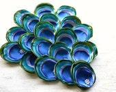Satin fabric handmade sew on flower appliques, wholesale peacock appliques, peacock flowers, wedding flowers (10pcs)- BLUE PEACOCK EYE