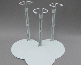 """3 Large Metal Doll Stands Kaiser #3001 Adjusts 9"""" to 12"""" from Base Waist Holder 2 - 2.5 Inches Across 6 Inch Base"""