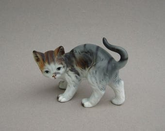 Gray Tabby Cat Figurine Kitten with Brown Head 1960s Vintage Figurine Porcelain Cat