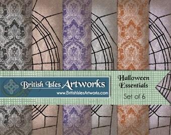 Halloween Essentials Digital Scrapbook Paper Pack, Spiderweb and Spider Baroque Gothic Pattern Set of 6, 12x12  Grunge jpg files