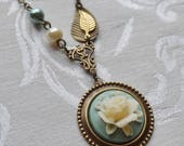 1/2 Price Sale- Blue and Cream Cabbage Rose, Necklace with Vintage Beads