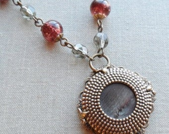 Sienna Brown Hobnail, Antique Mother of Pearl Button Necklace