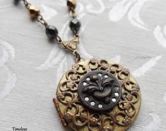 Purple Tint, Mirror Back Antique Button, Victorian Button, Locket Necklace, Czech Glass Beads, Timeless Trinkets,One of A Kind