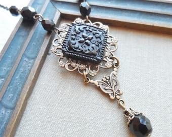 Ornate Flower Design, Victorian Black Glass, Antique Glass Button Necklace