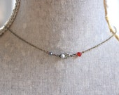Simple pearl choker /crystal and grey pearl necklace /short necklace /choker necklace. Tiedupmemories