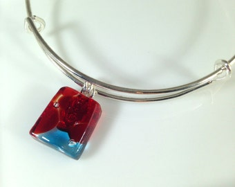 Handmade Silver Fused Glass Bangle / Bracelet / Armband / Charm Bracelet in Gift Box - red and turquoise - FREE UK SHIPPING