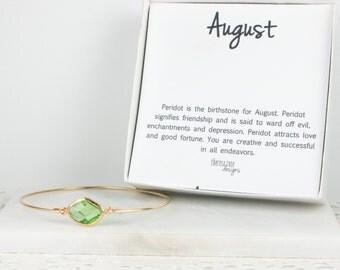 August Birthstone Peridot Gold Bangle Bracelet, Gold Bracelet, Peridot Bangle Bracelet, August Birthstone Bracelet, Bridesmaid Jewelry