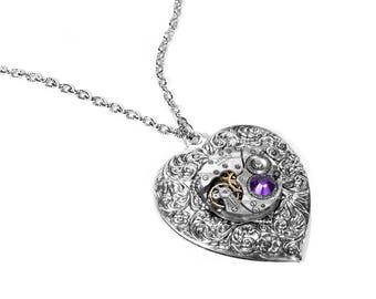 Steampunk Jewelry Necklace Silver Vintage Watch HEART Pendant AMETHYST Crystal Wedding Anniversary Mother Girlfriend - Jewelry by edmdesigns