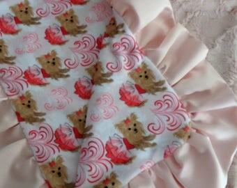 Yorkie Blanket - Minky Blanket - with or without ruffle - 17 x 20 or 30 x 30