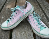 Converse All Star Pink and Green heart cut out sparkle sparkly size 6 low top