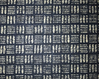 Sevenberry basket weave pattern navy indigo blue Japanese cotton fabric