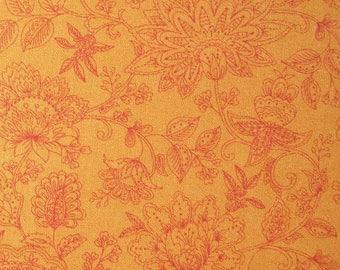 Pumpkin burnt orange Fabric Yardage Sarasa Henley Studio Makower UK Floral Cotton quilting Sewing floral print 3 Yards UNCUT