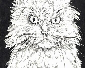 """Real Mad Cat 5""""x 8"""" art print"""