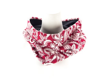 Red Floral Paisley Cowl Scarf Tube