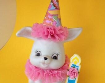 Birthday Decoration Shabby Chic Birthday Bunny Figurine Cake Topper,Birthday Ornament for Birthday Party