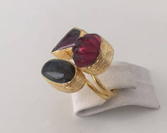 Triple Gold plated Labradorite and  ruby  ring