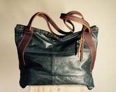 NEW// Oxford Sling in Vintage Leather Motorcycle Jacket with Horween Leather Tote Straps