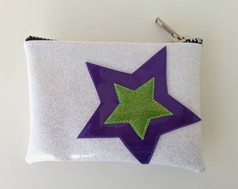 Coin purse white metalflake vinyl with purple and lime stars