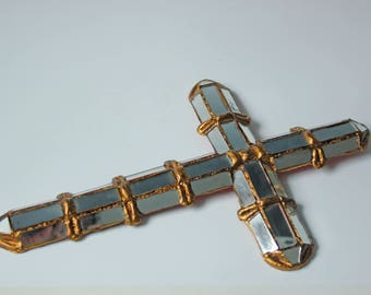Vintage mirrored gilt cross - religious wall decor - bohemian style