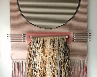 Large vintage Fiber Textile Wall Art / bohemian modern wall hanging / boho chic