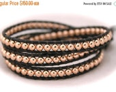 Valentines Sale: Rose Gold Beaded Leather Wrap Bracelet