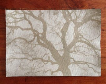 Outspread Tree Branches, Tea-toned Real Cyanotype Print, OOAK Ready to Frame, one of a kind handmade cyanotype print