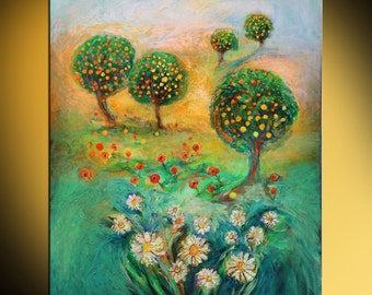 Original oil on canvas painting garden trees flowers oranges Best attribute for room decor green yellow orange red blue