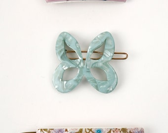 Vintage  Butterfly and FLowers 1960's Barrette Set