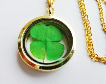 real four leaf clover necklace - 4 leaf clover jewelry - delicate necklace - flower jewelry - las vegas necklace - shamrock necklace