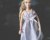 Barbie Dress, Barbie Clothes, Handmade Barbie Clothes, Gray and Pink