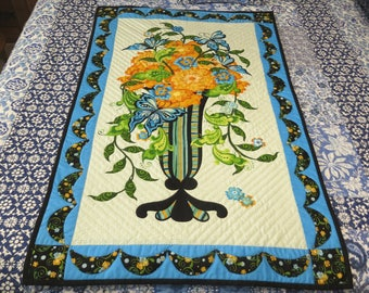 Wall Hanging, Quilt, Handquilted, Blue, Yellow, Black, Green, Wall Decor, Fiber Art, Quilting, Lap Quilt, couch throw