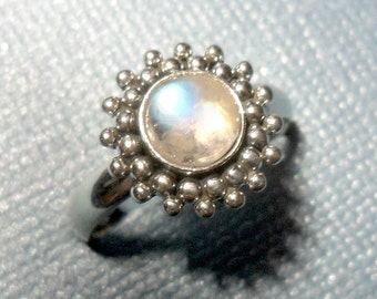 Glowing Blue Moonstone Ring - Sterling Silver - Size 7