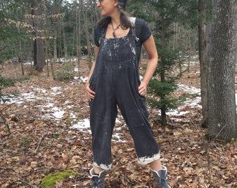 Dipped Bib Romper - New Sizes!  Black Bib Overalls, cropped leg romper, loose cotton bib overalls, clam digger, plus size, XXL, XXXL, XL, L